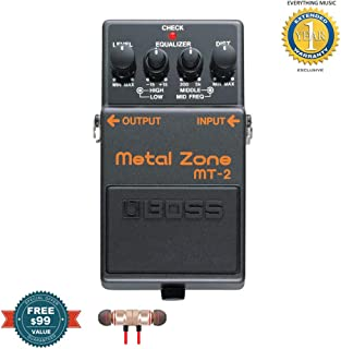Boss MT-2 Metal Zone Effects Pedal includes Free Wireless Earbuds - Stereo Bluetooth In-ear and 1 Year Everything Music Extended Warranty
