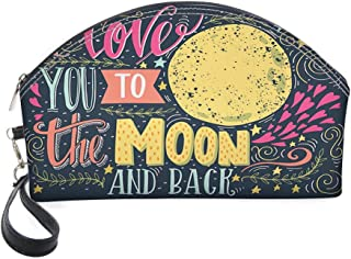 Half Moon Cosmetic Beauty Bag,Valentines Day Featured Festival in Love Wish Feelings Image for Women & Girls School Travel Office