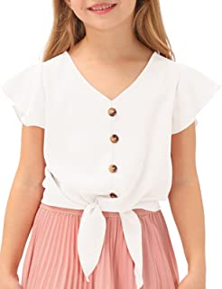 GRACE KARIN Girls Short Sleeve Shirts V Neck Ruffle Tie Knot Tops Solid Color Summer Shirts Blouse