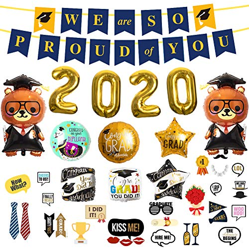 Graduation Party Supplies 2020, Party Decoration Include We Are So Proud of You Banner, 30 Photo Booth Props 2020 Glitter Graduation Photo Props Class, 12 Foil Balloons
