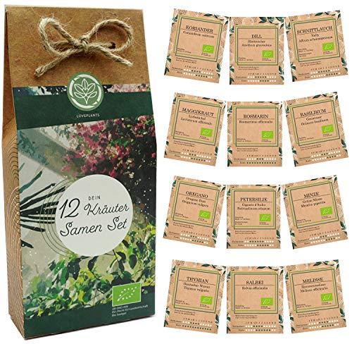 Kräuter Samen Set – 12 Sorten Bio Samen für Bio Küchenkräuter. Perfektes Kräuterset für Küche und Balkon; ideal als Geschenk für Frauen und Männer