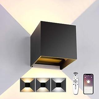 Lámpara LED de pared interior con mando a distancia 20 W 1600 LM lámpara de pared regulable brillo 3000 K 6000 K Modern High Bright con ángulo de haz ajustable IP44 impermeable negro