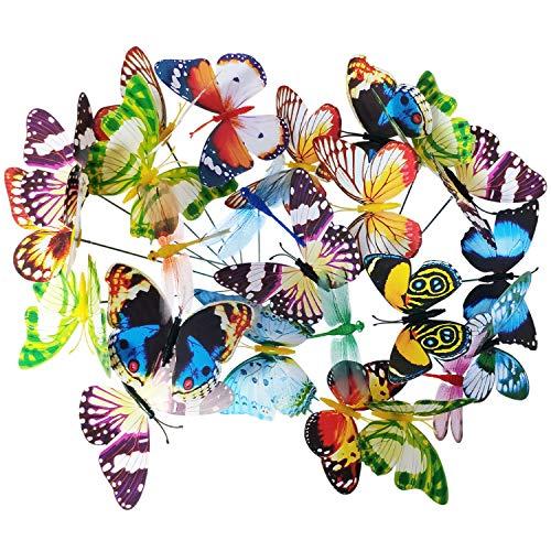tiroba Deko Schmetterlinge und Libellen auf Stöcken, 24er Set, Bunte Gartendeko, Topfstecker, Pflanzkasten Dekoration, Set aus 20 Schmetterlingen und 4 Libellen