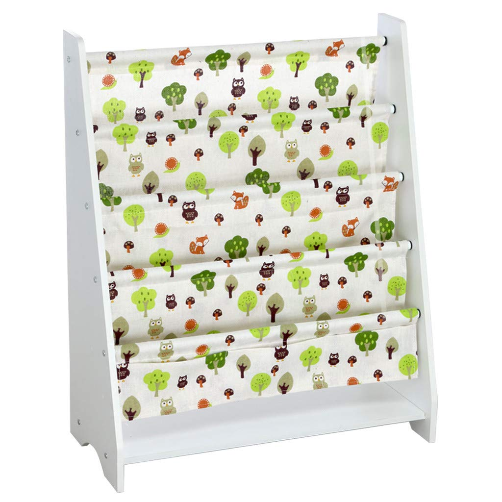 Wooden Sling Bookcase Nursery Bookshelf, Floating Book Shelves with Pocket Storage Book for Kids Room- Sturdy Canvas Fabric, Cute Pattern, Kids Bookshelf, Young Reader Support, 30''×23.6''×11'',White