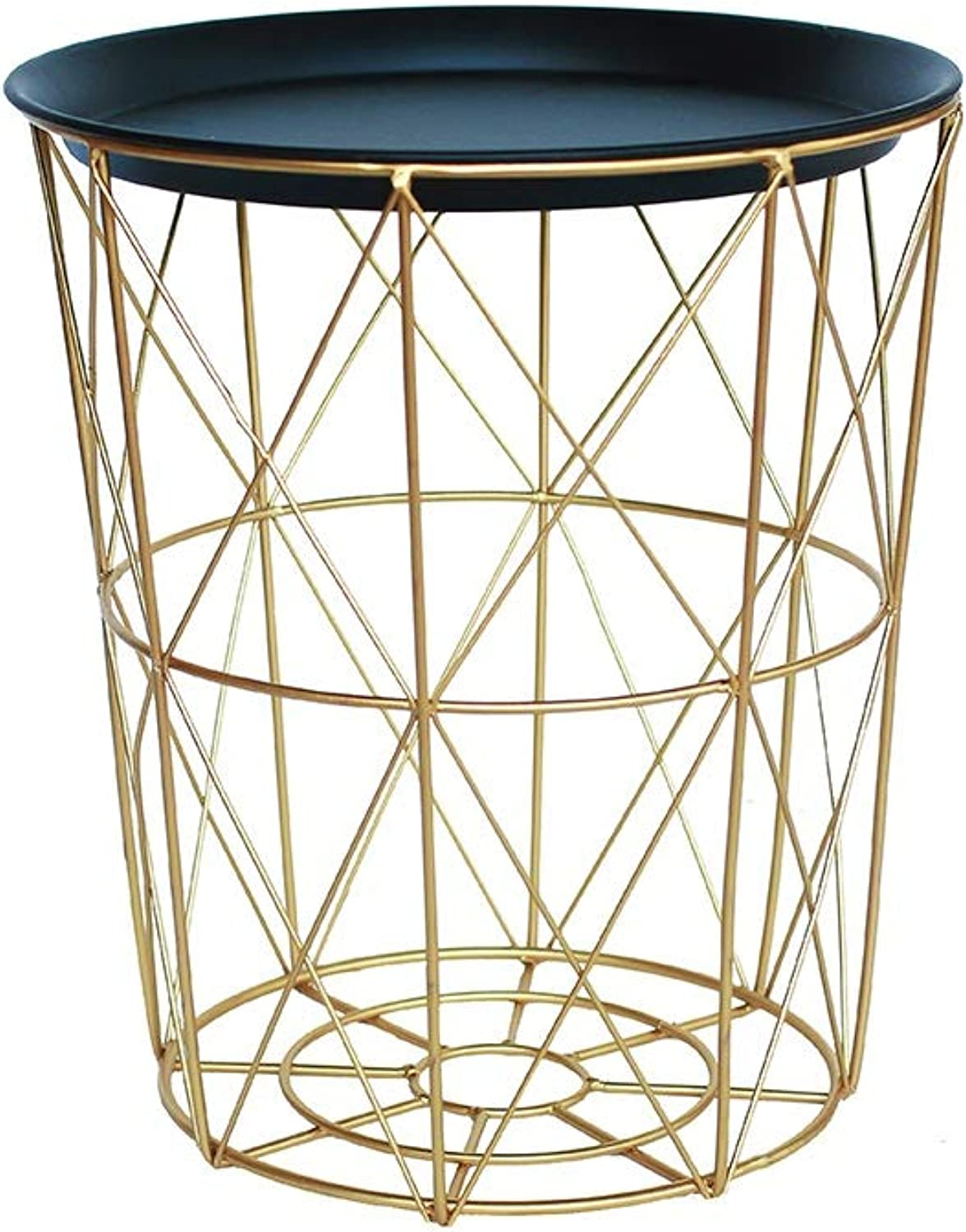 Laundry Hamper Multifunctional with Lid Hollow Household Storage Basket Wrought Iron gold ZHANGQIANG (Size   23  29.5  33.5cm)