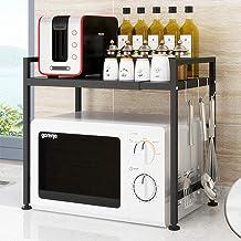 Negro del Horno microondas Estante de la Cocina for Guardar Organizador expansible de Acero al Carbono de microondas Estante Estante de la Cocina Ajuste Libre XMJ