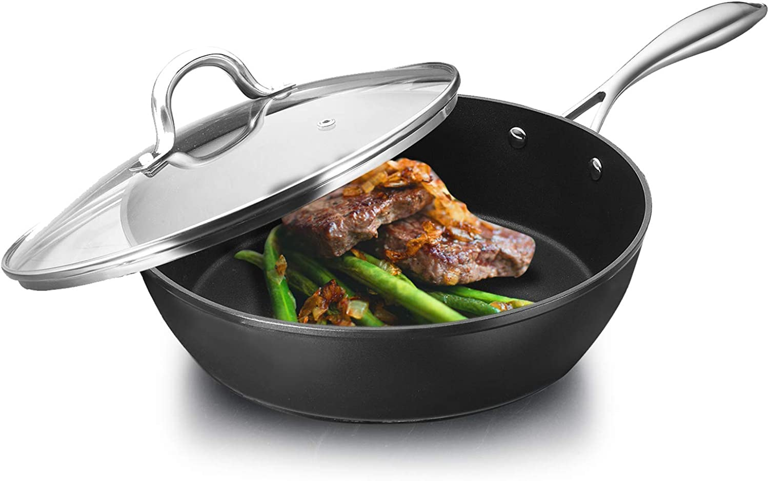 COOKER KING Nonstick Frying Pan with Lid, Induction Compatible, Dishwasher Safe, Oven Safe, Fast Heating, Anti-Warp Base, Stainless Steel Handle, 11-Inch Multi-Function Nonstick Skillet with Lid