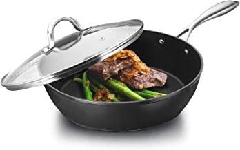 COOKER KING Nonstick Saute Pan, 11-Inch Frying Pan with Lid, Induction Compatible, Dishwasher Safe, Oven Safe, Multi-Function Skillet with Stainless Steel Handle