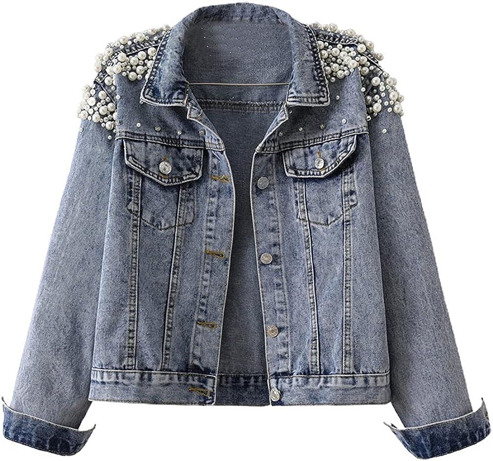 chouyatou Women's Casual Lightweight Pearls Studded Beading Short Denim Jacket