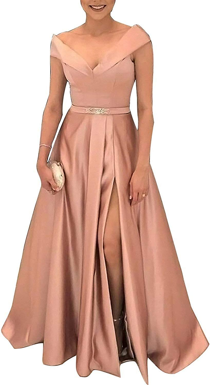XingMeng Women's V Neck Formal Evening Dress Belt Side Split Satin Long Prom Dress