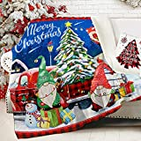 """Christmas Blanket, Merry Christmas Tree Gnomes Fuzzy Soft Warm Sherpa Throw Blanket for Women, Red Buffalo Plaid Truck Holiday Winter Thick Crystal Velvet Blanket for Couch Bed Living Room, 50""""x60"""""""
