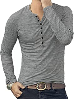 KUYIGO Mens Casual Slim Fit Basic Henley Long Sleeve T-Shirt