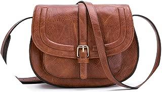 Fashion Crossbody Bag and Small Satchel Purse for Women Vintage Saddle Handbag and Shoulder Bag,Brown,L