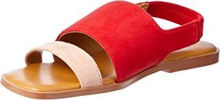 Jaggar Contrast Suede Flat, Womens Shoes, Red (Scarlet), Women
