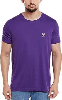 VIMAL Purple Round Neck Cotton Tshirt for Men (L)