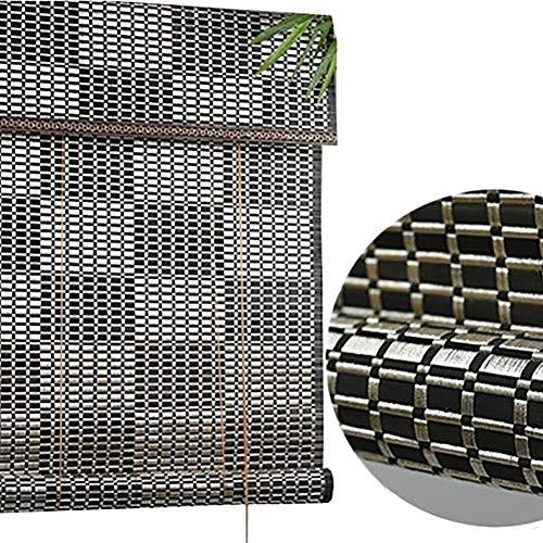 Bambusvorhang Schwarz Sonnenschutz Jalousien mit Armaturen, Holzvorhang für Outdoor Deck Gazebo Patio, 85cm / 105cm / 125cm / 135cm Breit Jalousie ( Color : W×H , Size : 135×240cm )