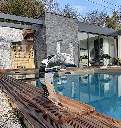 Cascada de acero inoxidable para piscina, piscina, modelo delfín con huevo y alero, altura 41 cm, ancho 16,8 cm