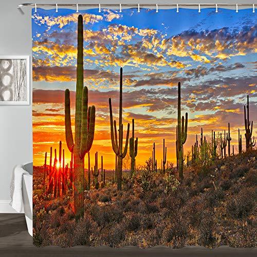 Colorful Cactus Sunset Bathroom Shower Curtain