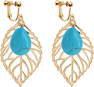 Leaf Clip on Earrings non Pierced Dangle Turquoise Teardrop Gold tone Drop Chandelier Women Teen Girl
