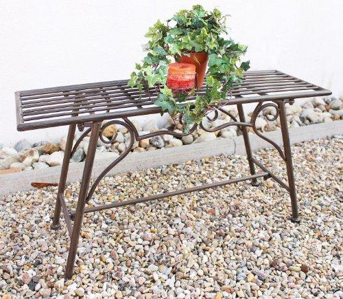 San Marco Gartenbank Wetterfest ohne Rückenlehne aus Metall Braun CUCCIU-S 83 cm Bank Metallbank Sitzbank Garten Rost-Optik