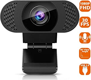 Full HD 1080P Webcam with Microphone, Computer Webcam, USB 2.0 PC Web Camera for Streaming, Video Calling, Studying, Conference, Recording, Live Streaming, Gaming with Rotatable Clip, Skype, YouTube