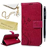 Galaxy S7 Edge Wallet Case - Mavis's Diary Fashion Floral Butterfly Embossed PU Leather Magnetic Flip Cover Card Holders & Hand Strap for Samsung Galaxy S7 Edge with Bling Dust Plug & Pen - Hot Pink