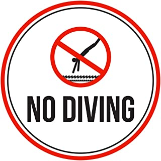 iCandy Products Inc No Diving Swimming Pool Spa Warning Round Sign, Metal - 9 Inch