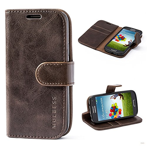 Mulbess Coque pour Samsung Galaxy S4 Mini, Etui Samsung Galaxy S4 Mini Cuir avec Magnetique, Housse Protection pour Samsung Galaxy S4 Mini Case, Café Marron