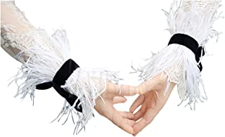L'VOW Ostrich Feather Bracelet Wrist Cuffs Party Halloween Costume Pack of 2