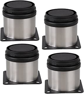 PIXNOR Furniture Cabinet Metal Legs Adjustable Stainless Steel Kitchen Feet Round Pack of 4