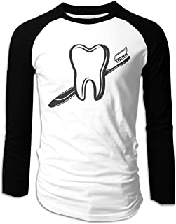 Eyscar Men's Logo of Tooth Smile Underwear Cotton Baseball Raglan Long T Shirt