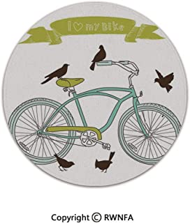 Dormitory Home Decor Rug,I Love My Bike Concept with Birds on The Seat Cruisers Basic Vehicle Simplistic Art 6' Diameter Green Blue,Decor Small Cute Circle Floor Carpets for Bedroom