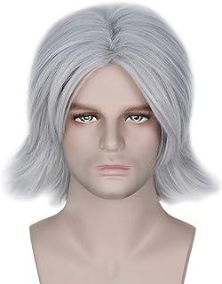 Miss U Hair High Temp Fiber Short Straight Silver Grey Wig Center Party Game Costume Wig