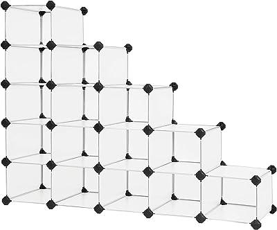 SONGMICS Shoe Rack,15-Cube Plastic Shoe Storage Organizer Units, 44.5 x 14.2 x 34.6 Inches, White