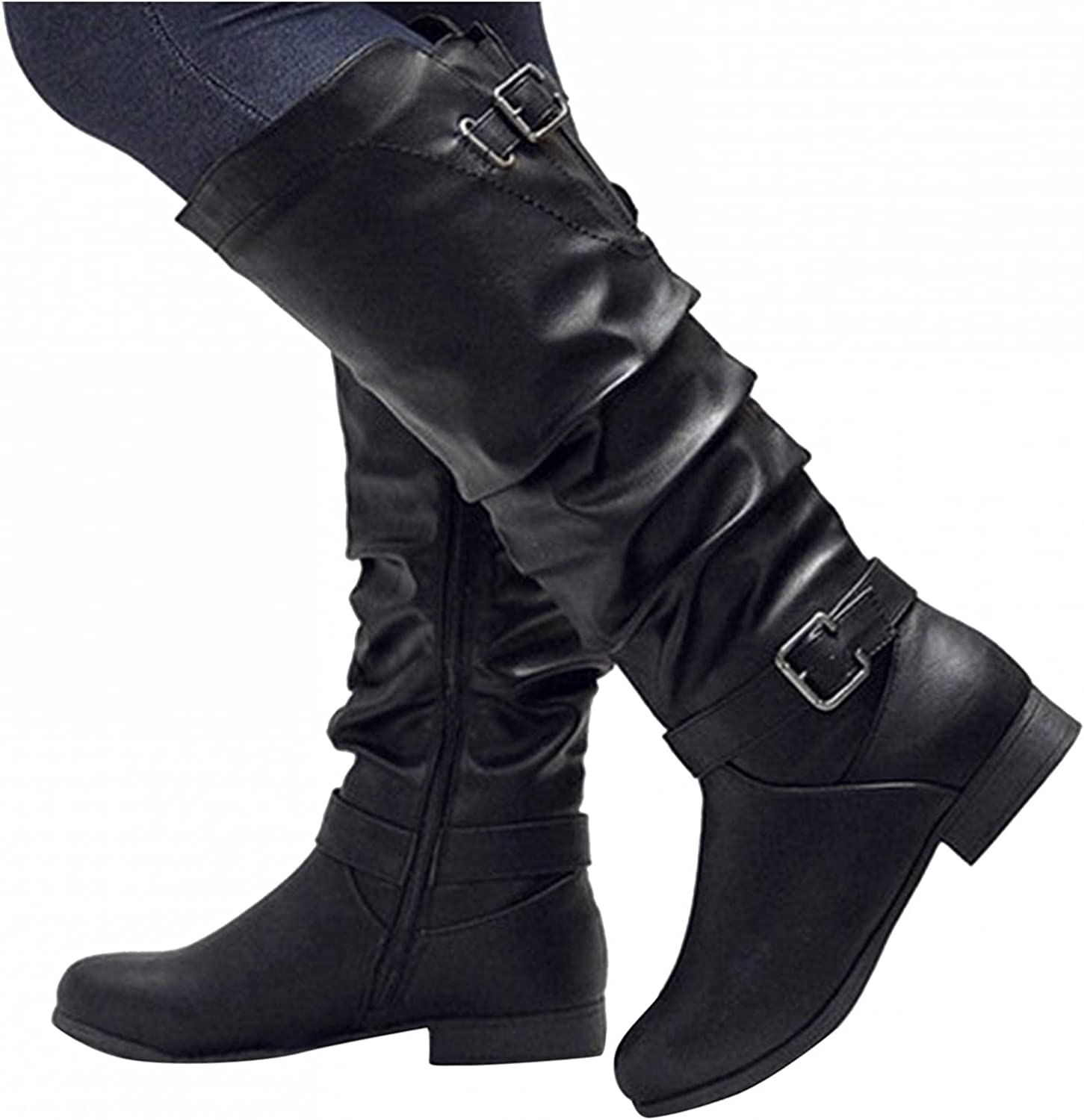 Gibobby Boots for Women Low Heel,Women's Fashion Casual Side Zipper Round Toe Mid Tube Booties Comfy Buckle Strap Platform Boots