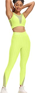 QOQ Women's 2 Piece Workout Outfits Sexy Textured High Waist Leggings and Sports Bra Yoga Activewear Tracksuits Set