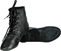 Cheapdancing Women's Leather Practice Dancing Shoes Jazz Boots Soft-Soled High Boots, Black