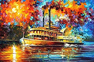 River Boat DIY 5D Full Drill Diamond Painting Kit, Canvas Wall Décor   Canvas Size 45 x 30 cm   17.7 x 11.8 inches  