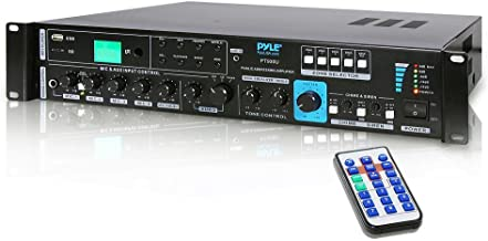 70V System Audio Power Amplifier - 700W Rack Mount Portable Home Stereo Sound Receiver Mixer System w/ 70V 100V Speaker Output, RCA AUX IN, USB, Mic Talkover - For Multi Speakers - Pyle PT930U