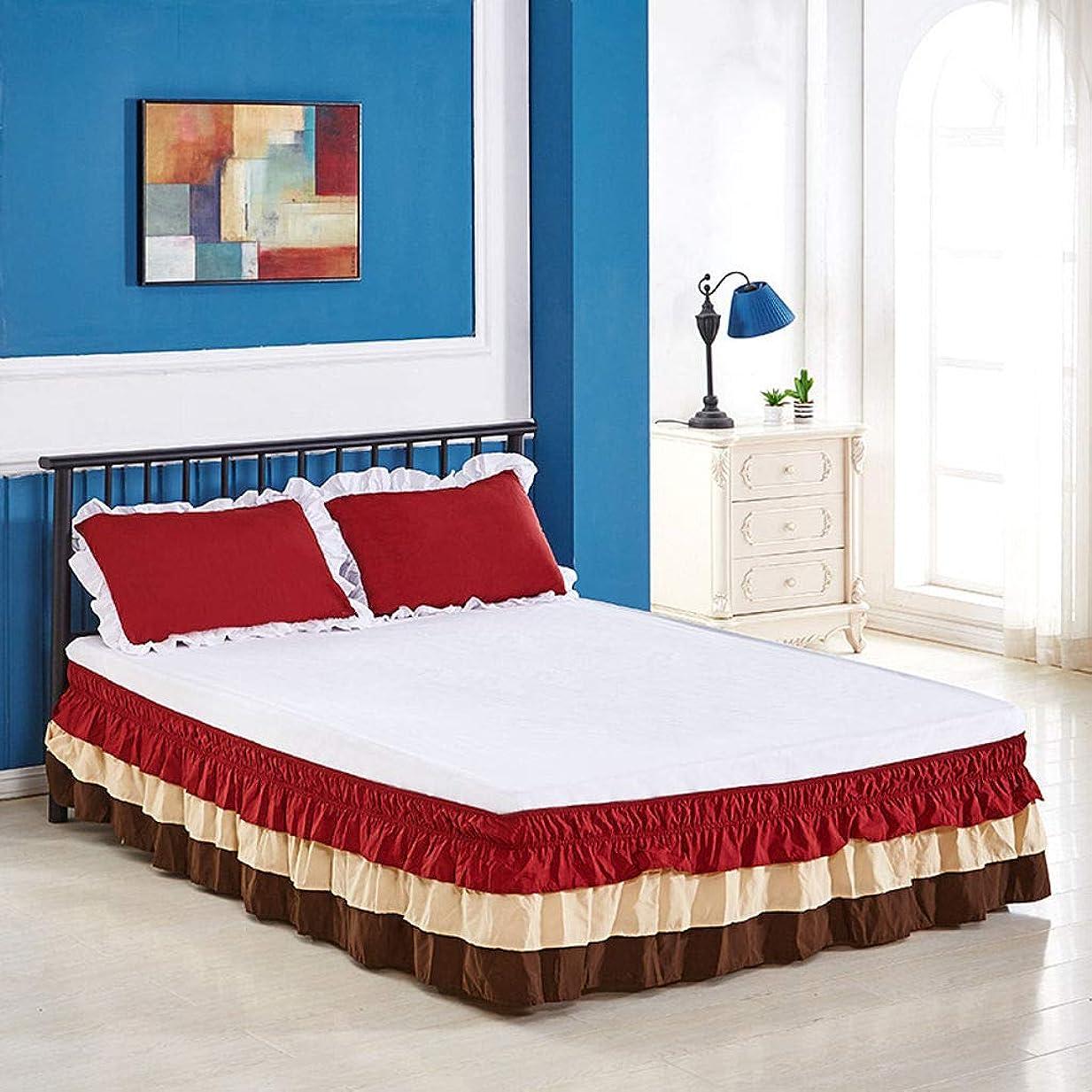 認可と遊ぶ表示ラウンドベッドスカート伸縮性のあるベッドプリーツ、スーパーソフト ベッドスカート エラストマー周辺 しわ防止、褪色防止 三方フレキシブル織物ラップ サギング-G-キング200×200センチメートル