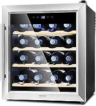 Cecotec Cave à vin Grand Sommelier 1600 SilenceWood. 16 Bouteilles, 48L, Porte en Verre, Encadrement en Acier Inox, Étagèr...