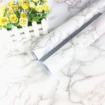 Wdragon Revetement Autocollant En Vinyle Pour Plan De Travail De Cuisine Motif Marbre Blanc Gris 30 5 X 200 7 Cm Amazon Fr Cuisine Maison