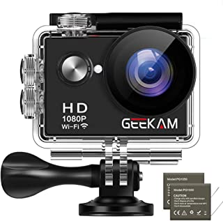 Cámara Deportiva GeeKam 1080P Ultra HD Impermeable 30M 12MP WiFi Acción Subacuática con 2 Baterías 1050mAh Maletín y 24 Accesorios Multiples