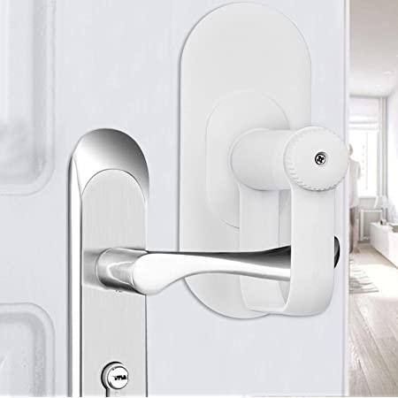 Door Lever Lock - Child/Pets Proof Door Handle Lock with 3M Adhesive - Child Safety Locks by AIRSPO (2 Pack)