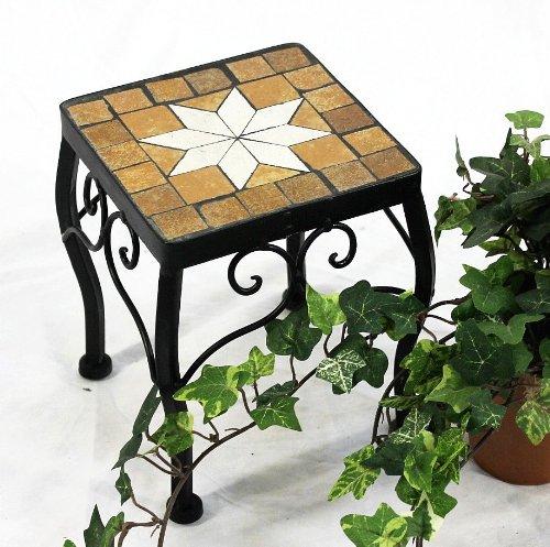 DanDiBo Blumenhocker Mosaik Eckig 21 cm Blumenständer 12015 Beistelltisch Pflanzenständer Mosaiktisch Klein