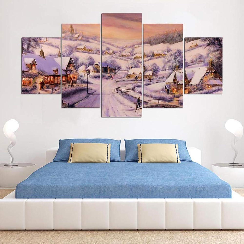 WZYWLH Arte Cartel Modular Decoración para el hogar Lienzo Sala de Estar 5 Panel Snow Village Paisaje Marco HD Impreso Moderno Cuadros Pintura Parojo