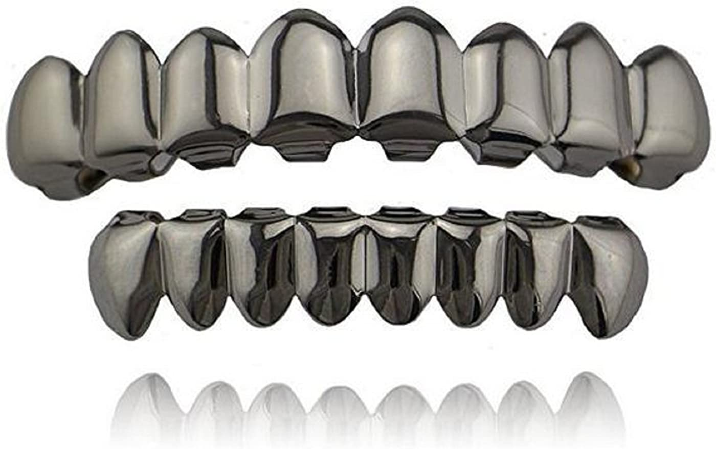 mainlead Universal Black Shiny Hip Hop Teeth Grills 8 Top and 8 Bottom Grills Set (Gun Hematite)