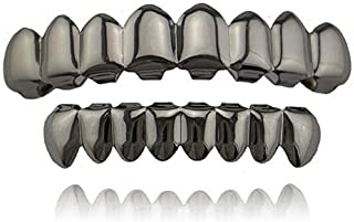 mainlead Universal Silver Shiny Hip Hop Teeth Grills 8 Top and 8 Bottom Grills Set