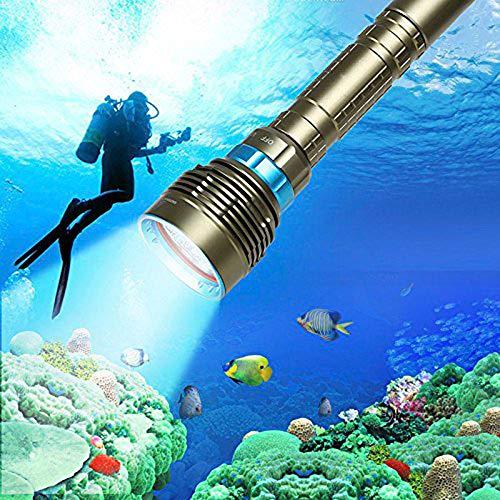 BOLLAER Linterna de buceo subacuática, 18000LM Subacuática 100m 7 LED Bombilla de Buceo Linterna de Buceo, Linterna de Luz de la Linterna Impermeable Linternas para Deporte al Aire Libre Buceo