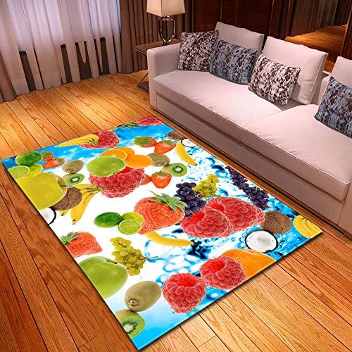 Alfombra De Fruta 3D -Suave Alfombra Decorativa Antideslizante para Sala De Estar Y Dormitorio-Habitacion Rectangular Lavables Pelo Corto Poliéster Grandes Pequeñas Alfombras 100x150cm